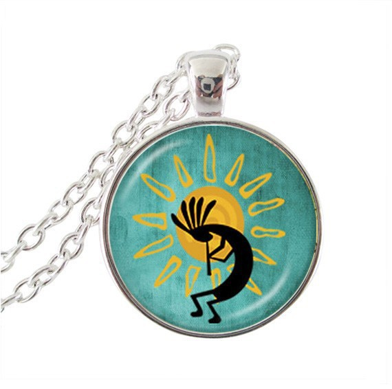2017 Collares Collier Maxi Necklace Kokopelli Sun Dance Pendant Glass Jewelry American Southwest Fertility Diety Necklaces For