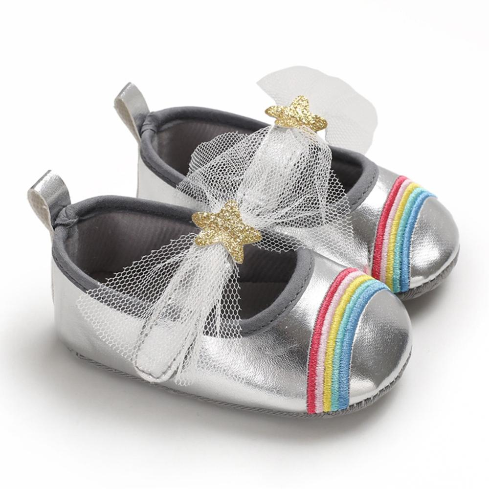 Baby Girl Breathable Rainbow Pattern Anti-Slip Shoes Casual Sneakers Toddler Soft Soled First Walkers 0-18M New