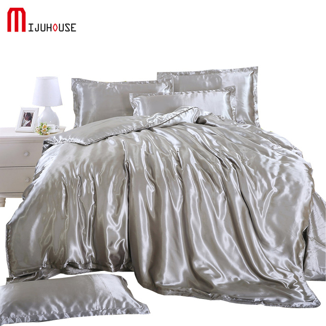 Cool bed sheets for summer Soft Highend Bedding Set Silk Duvet Cover Sets Flat Bed Linen Pillowcase Summer Cool Soft Silky Fabric Silver Grey Bedding Aliexpresscom Highend Bedding Set Silk Duvet Cover Sets Flat Bed Linen Pillowcase