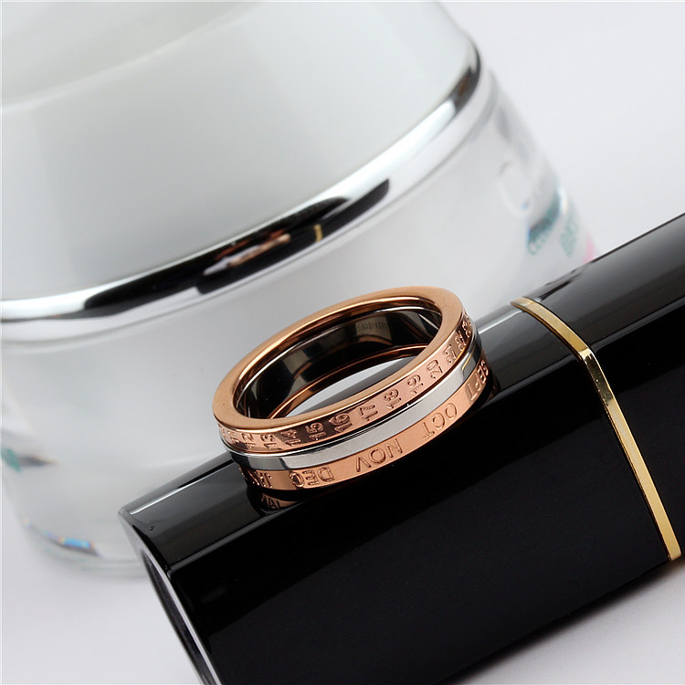 YUN RUO 2020 Rose Gold Personlighet Rotatable Number Ring for Woman - Märkessmycken - Foto 2