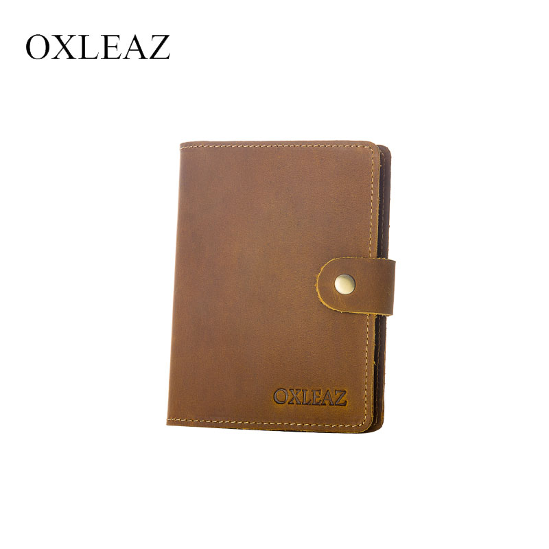 OXLEAZ Vintage Natural Crazy Horse Leather Passport Cover Men Genuine Leather Passport Case Travel Credit Card Wallet for Men цена 2017