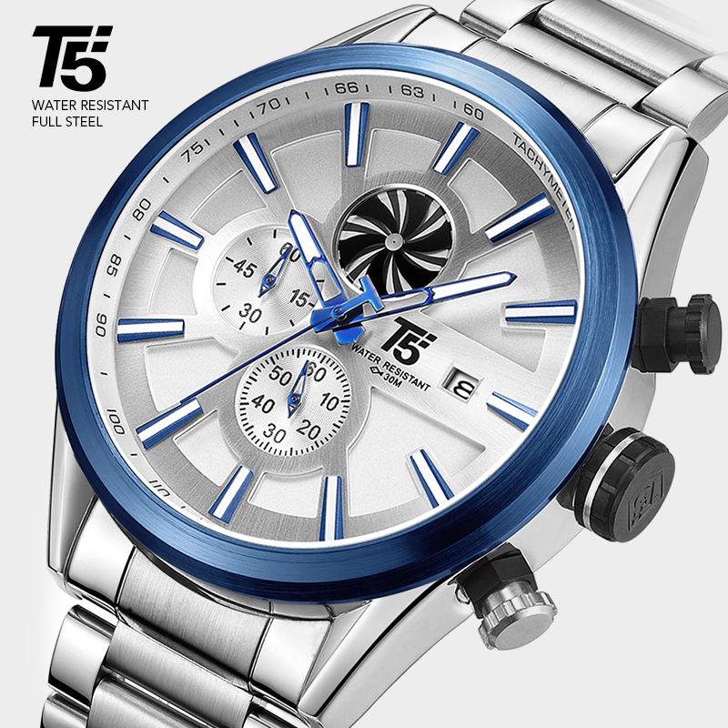T5 Luxury Brand Rose Gold Male Military Quartz Sport Mens Wrist Watch Men Chronograph Waterproof Watches Sport Wristwatch