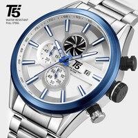 T5 高級ブランドローズゴールド男性ミリタリークォーツ腕時計スポーツメンズ腕時計メンズクロノグラフ防水腕時計スポーツ腕時計 -