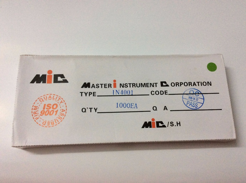 1000PCS Rectifier DIODE MIC DO-41 1N4001 IN4001