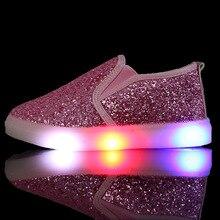 2017 nouveaux enfants shoes pour garçons et filles de bébé enfants de bande dessinée de paillettes LED toile sneakers casual shoes taille 21-30