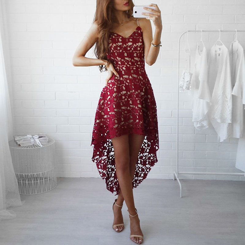 2018 Sexy Red Lace Party Skater Dress Women Hollow Out Nude Illusion A-Line Dresses Ladies Sleeveless Beach Dresses