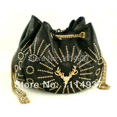 Free shipping Soft leather bucket bag one shoulder cross body drawstring rhinestone deer bag black punk