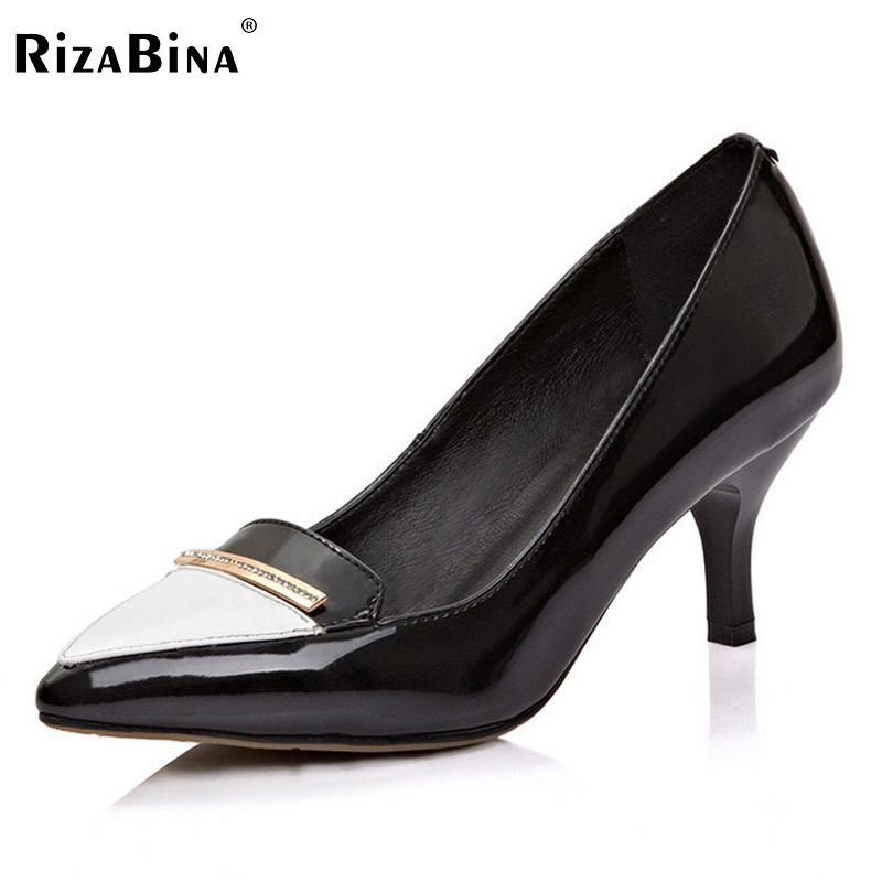 women real genuine leather stiletto bowtie thin high heel shoes brand sexy fashion pumps ladies heeled shoes size 34-39 R6016 p23128 women patent leather thin heel pumps elegant pointed head stiletto fashion simple style ladies heeled shoes size 33 42