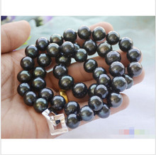 "P4624 A++ 24"" 14mm ROUND Tahitian black Freshwater cultured PEARL NECKLACE ^^^@^Noble style Natural Fine jewe (B0322)(China)"