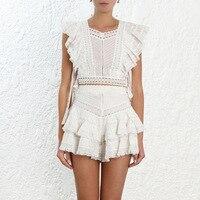 2019 Summer New Pullover White Ruffles Sleeveless Shirt+shorts Suit 2piece set women