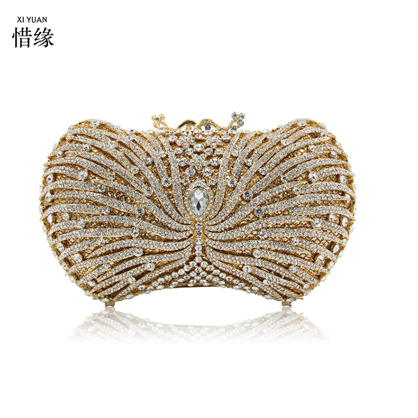 XIYUAN gold Women Rhinestone Hard Box Clutch Purse Floral Design Metal Evening Bags Cocktail Wedding Evening Clutch For Prom bag blue women clutch crystal evening bags women rhinestone hard box clutch purse evening bags hard box cocktail wedding bag yls 32