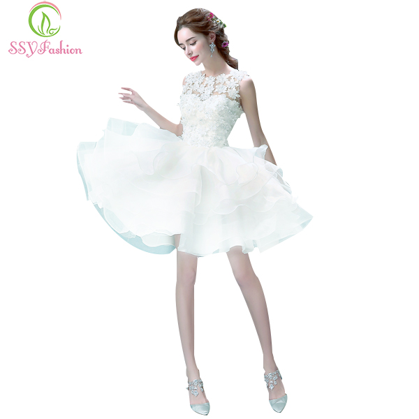 SSYFashion White Lace Flower Bridesmaid Dress Sweet Princess Bride banquet Ball Gown Short Ball Gown Elegant