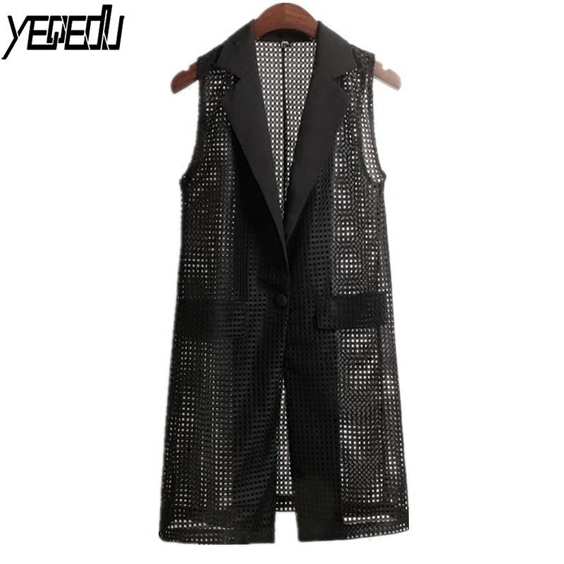 #0721 Summer Turn-Down Collar Mesh See Through Sleeveless Blazer Vest Women Waistcoat Loose Hollow Out Long Black Single Button