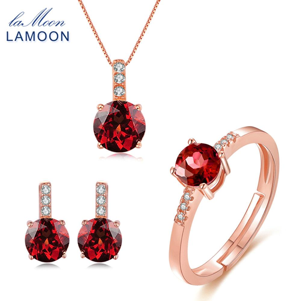 LAMOON 2017 New 100% Real Natural Red Garnet 925-Sterling-Silver Jewelry Sets 3PCS S925 Fine Jewellery for Women Wedding V014-2