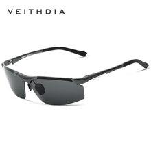 Veithdia hombres revestimiento de conducción espejo de aluminio magnesio gafas de sol polarizadas de los hombres gafas de sol oculos hombres gafas 6511