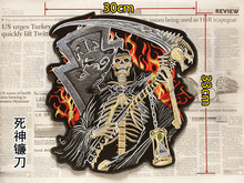 Large Embroidery twill Patches for Jacket Back Motorcycle Biker Reaper Skull Big Size 13 inch Sew on