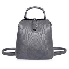 New 2017 Women Crocodile Pattern Doctor Women Backpack Travel Rugzak Women's PU Leather Rucksack Bag Mochila Feminina