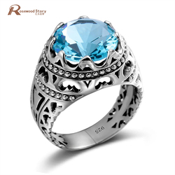 Genuine Silver Ring For Men Retro Real 925 Sterling Silver Blue Topaz Rings For Women Unisex Big Gemstones Round Fine Jewelry
