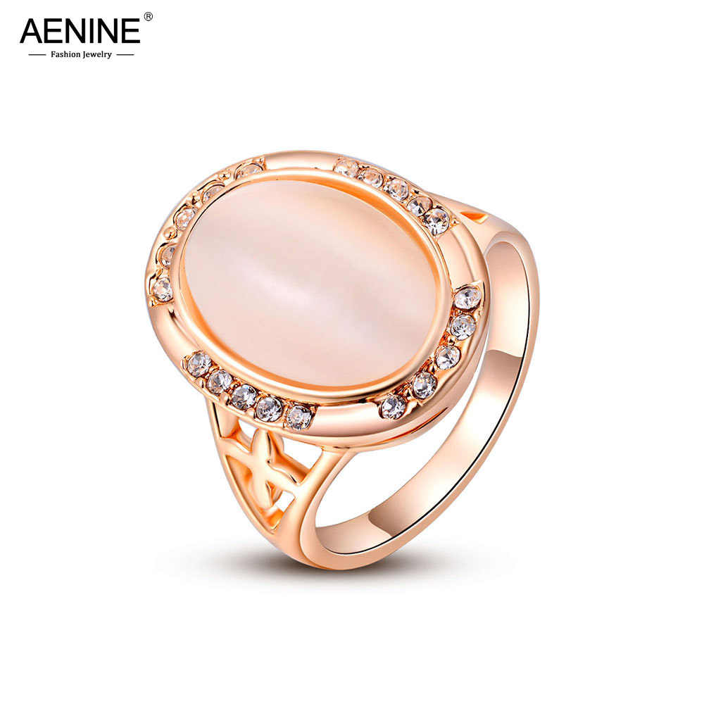 AENINE Christmas Gifts Trendy CZ Crystals Engagement Rings For Women Rose Gold Color Pink Opal Stone Ring Jewelry A2010221350