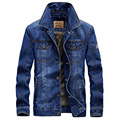 Alta Qualidade Dos Homens da Tendência Jaqueta Jeans Cowboy Fino Masculino Inverno Plus Size Outwear Casaco com Zíper 4XL