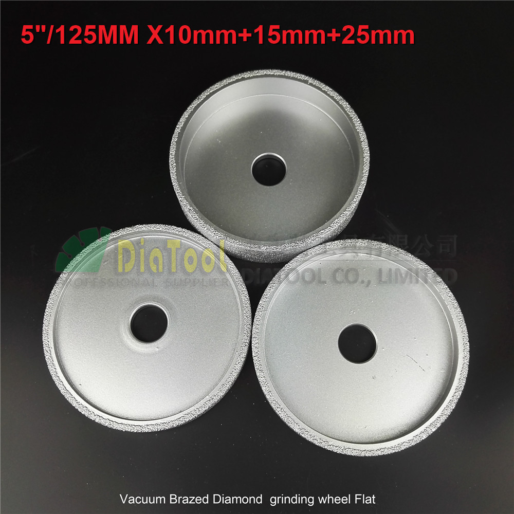 DIATOOL 1set 125mmx10MM+15MM+25MM Vacuum Brazed Diamond Grinding Flat Wheel Beveling Wheel For Marble Granite Artificial Stone 2pcs dia 125mmx10mm vacuum brazed diamond grinding wheel dia 5 beveling wheel flat for marble granite artificial concrete stone