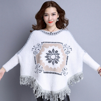 2017 Women Autumn Winter Knitted Sweater Poncho Fashion Print Elegant Pullover Jumper Irregular Tassel Hem Cape