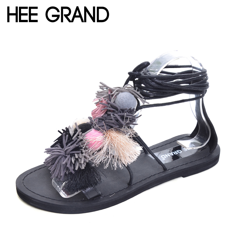 HEE GRAND Vintage Gladiator Sandals Ball Tassel Shoes Woman 2017 Platform Flats Casual Bohemia Lace-Up Women Shoes XWZ3692 hee grand lace up gladiator sandals 2017 summer platform flats shoes woman casual creepers fashion beach women shoes xwz4085