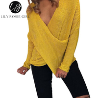 Lily Rosie Girl Autumn Women Sexy V Neck Sweaters Cross Wrap Tunic Pullover Long Sleeve Female