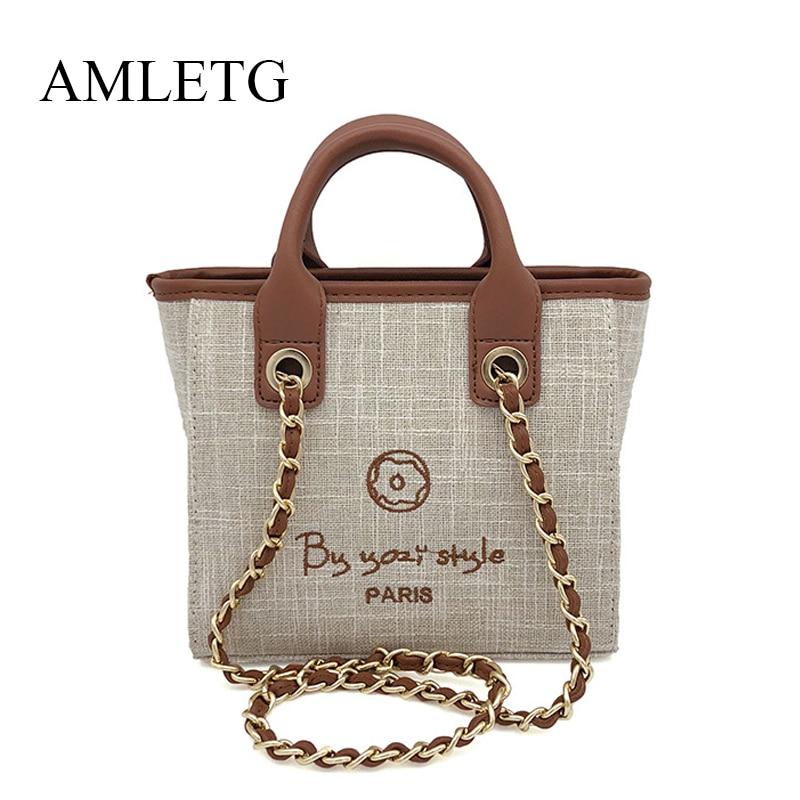 aabdfec17dc4 US $19.99 41% OFF|The Latest Fashion Bags Casual Versatile Canvas Handbag  Chain Women Bag Womens Shoulder Messenger Bags Sac Femme Bolsa Feminina-in  ...