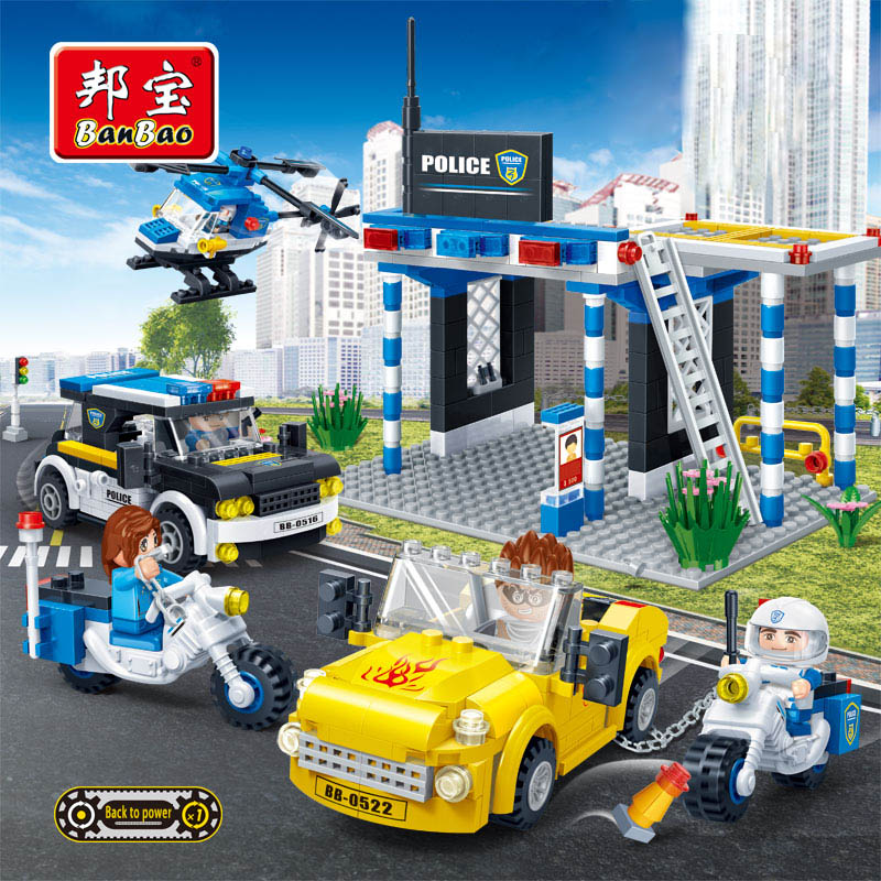 BanBao Police Educational Blocks Toys For Children Kids Gift City Hero Weapon Car Helicopter Stickers Compatible with Legoe lepin 02012 city deepwater exploration vessel 60095 building blocks policeman toys children compatible with lego gift kid sets