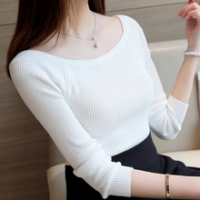 Autumn Winter Women Sweater Pullover Basic Rib Knitted Cotton Tops Solid Slash Neck Essential Jumper Long Sleeve Sweaters