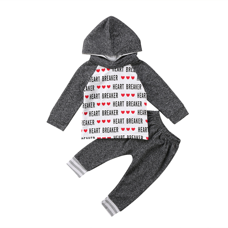 2PCS New Casual Toddler Kids Baby Boy Clothes Set Gray Hooded Print Letters Cotton Top Leggings Pant Outfits