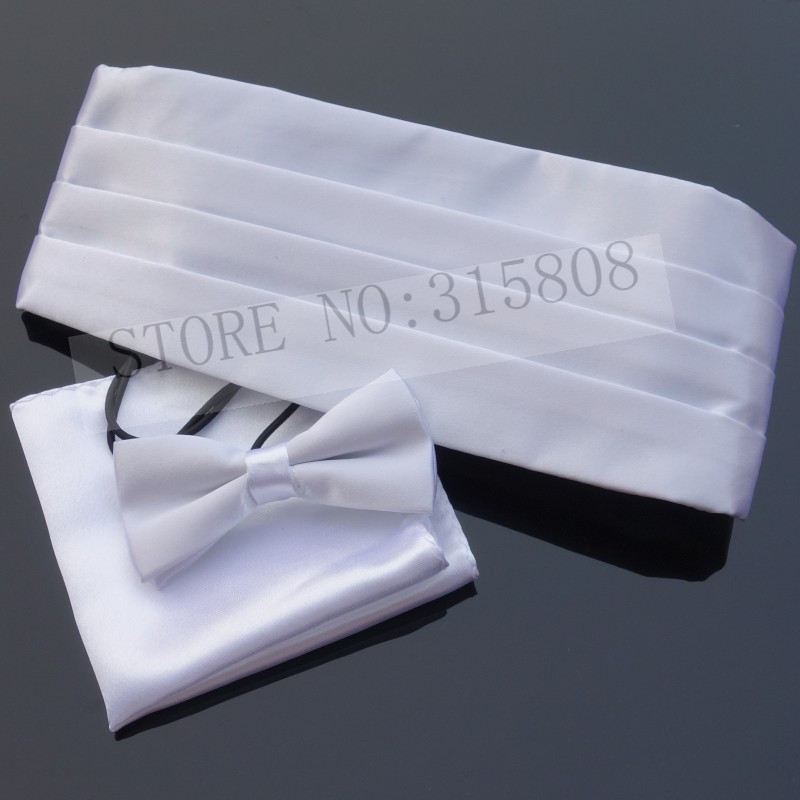 Ikepeibao WhiteKids Tuxedo Formal Cummerbund Sets Bowties Hanky Noeud Papillon Sash Belts W Adjustable Elastic Band Wedding New