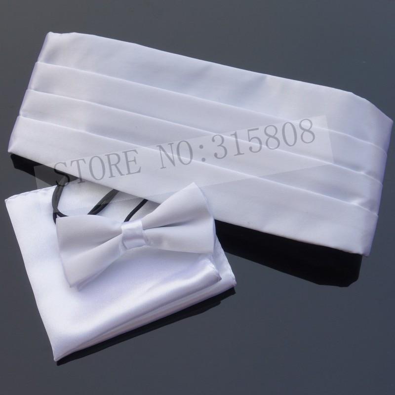 Ikepeibao WhiteKids Tuxedo Formal Cummerbund Sets Bowties Hanky Noeud Papillon Sash Belts W Adjustable Elastic Band Wedding New