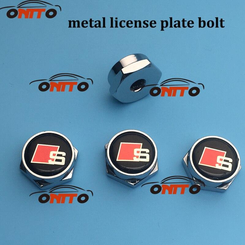 4 шт./компл. Лицензия металлическая пластина болтов Frame колпачки болт крышка авто гайки для AUDI A1 A2 A3 A4 A5 a6 A7 A8 Q1 Q3 Q5 Q7 TT R8 S R