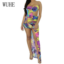 WUHE Women Irregular Wrapped Chest Dress Sexy Off Shoulder Hollow Out Retro Bodycon Bandage Summer Vestidos Plus Size XXL