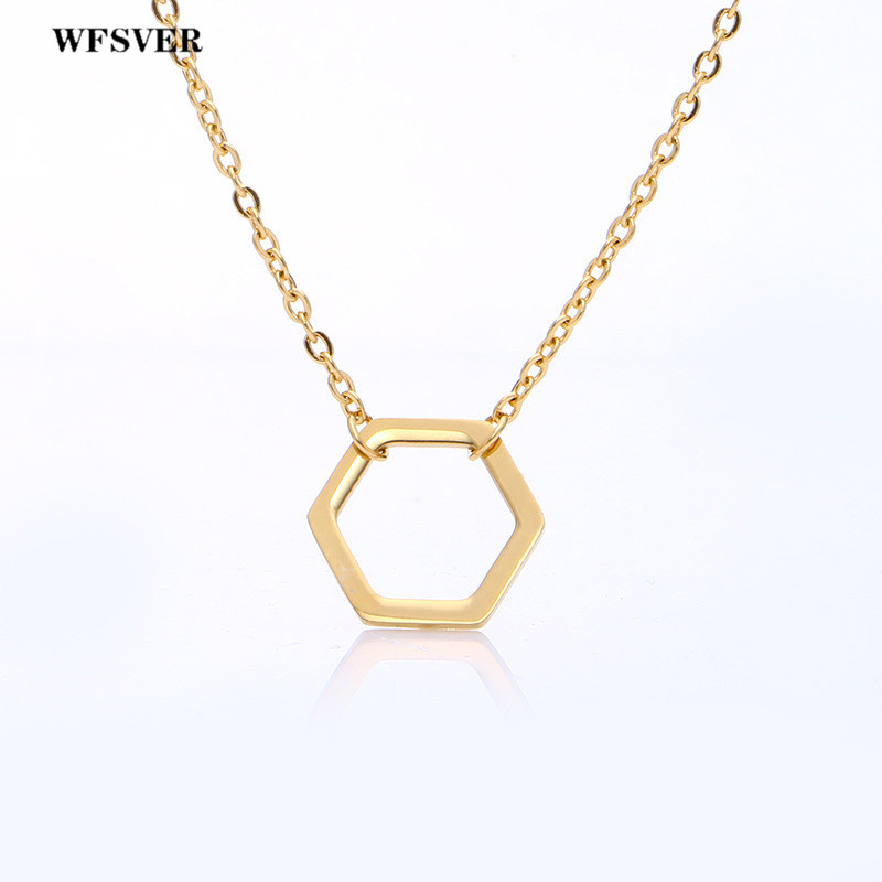 WFSVER Geometric Polygon Pendant Necklace For Women Fashion Stainless Steel Clavicle Jewelry Christmas Party Gift