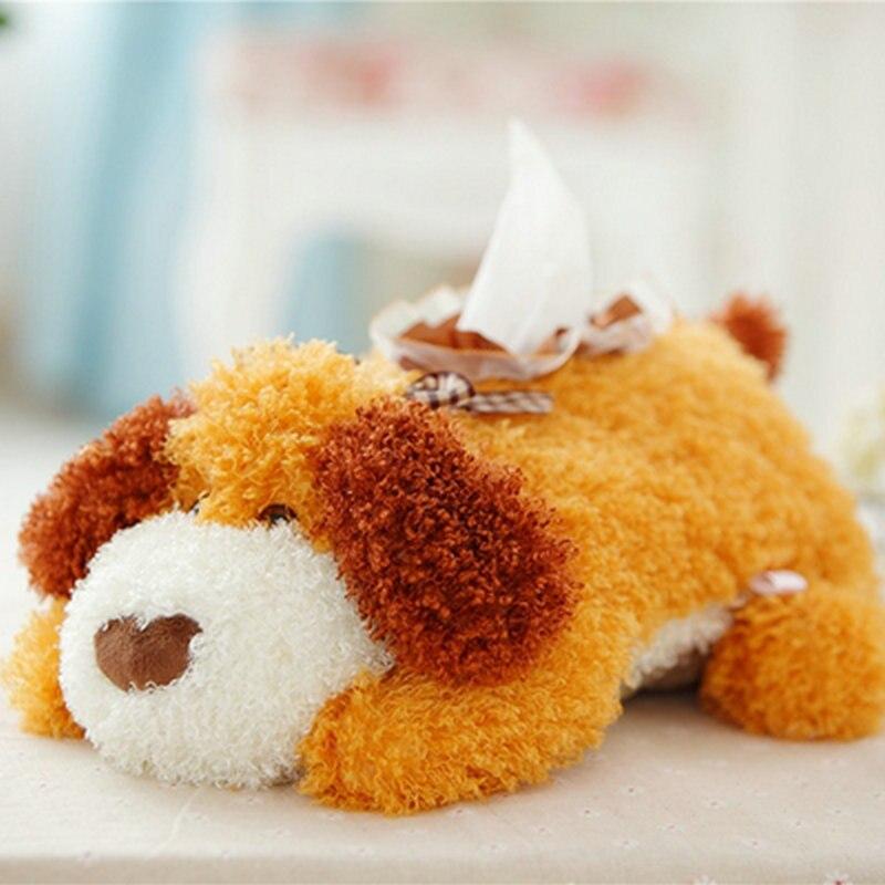 28cm Kawaii Plush Dog Tissue Box Staffed Soft Cute Teddy Dog Napkin Box Creative Home Decoration Cute Gift