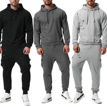 2019 The New Brand Hole Tracksuit Fashion Men Sportswear Two Piece Sets Pullover hoodie+Pants Sporting Suit