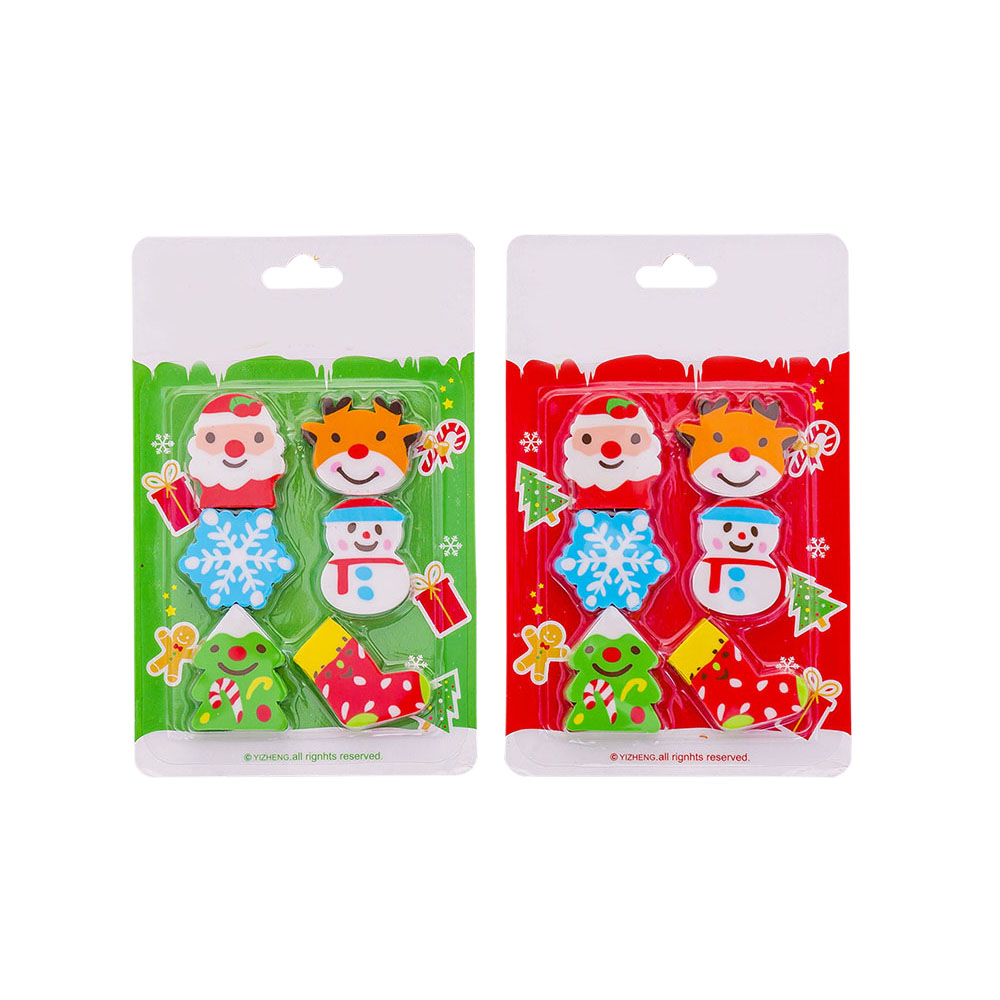 6 Pcs Christmas Erasers Stationery Rubber Pencil Erasers Office School Student Prizes Random Color