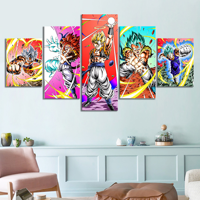 Canvas Pictures Home 5 Pieces Dragon Ball Animation Paintings Wall Art Creative Prints Poster Hotel Modular Living Room