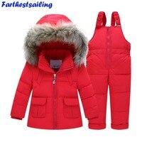 Trajes de invierno para Niños Niñas Juegos de Ropa de Bebé de Nieve chaquetas + Pantalones Del Mono Kids Pato Abajo Abrigos Con Capucha ropa de Abrigo traje