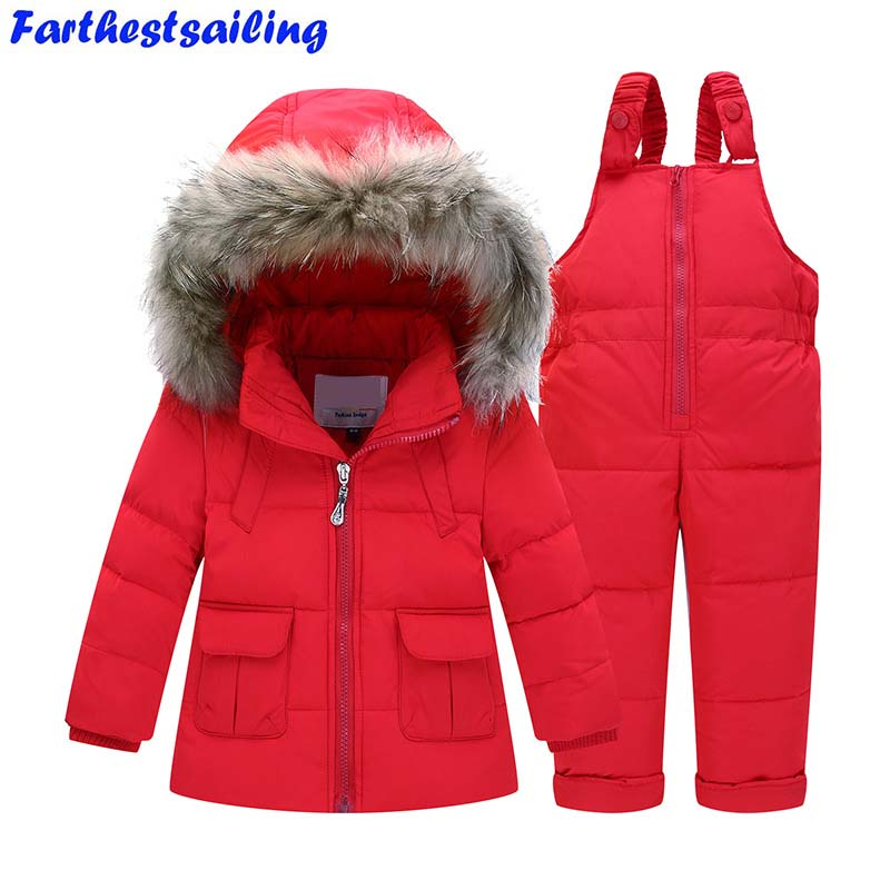 Winter Suits for Girls Boys Children Clothing Sets Baby Snow Jackets + Jumpsuit Pants Kids Duck Down Hooded Coats Outerwear Suit