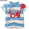Little maven kids brand clothes summer boys short sleeve O-neck striped t shirt Cotton excavator printing brand tee tops L047