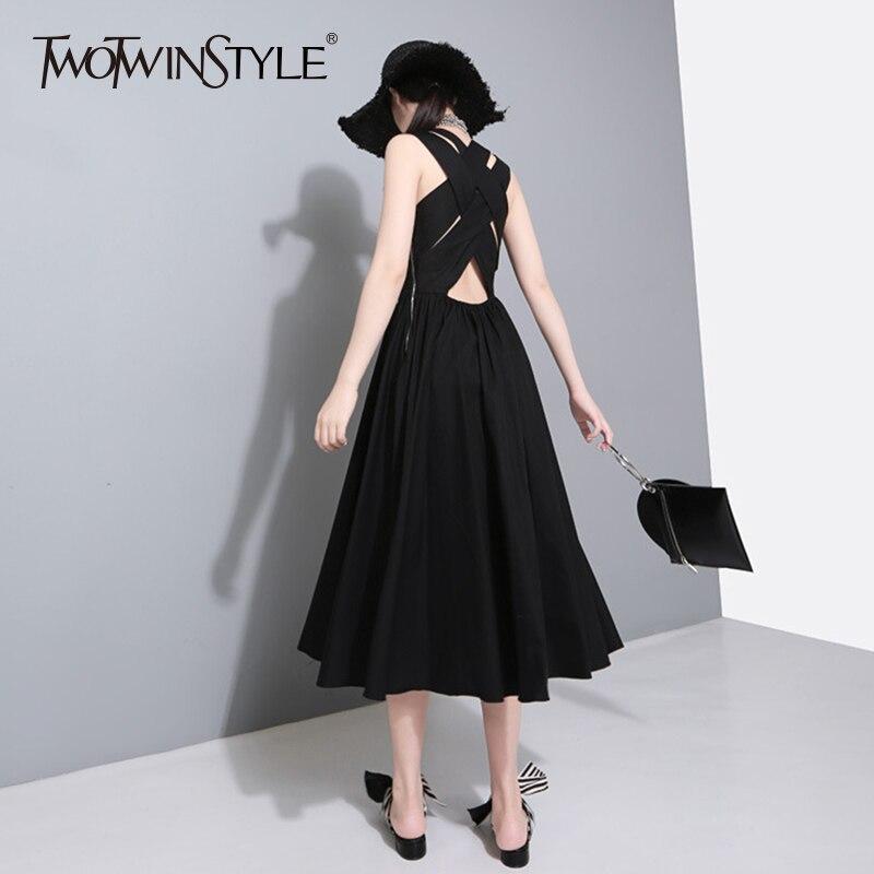 Платье-жилет TWOTWINSTYLE, с открытой спинкой и высокой талией