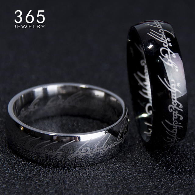 d61415d3ef9c Grabar carta clásico de El señor De Un anillo negro plata oro anillo de  acero inoxidable