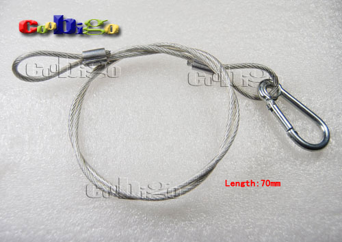 1pcs Pack Stainless Steel Wire Cable With Transparent Rubber Tubing &  Carabiner Snap Hook Emergency Survival