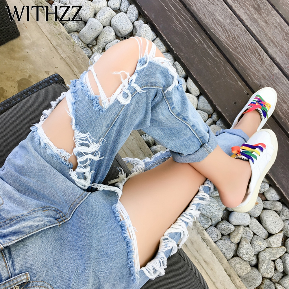 WITHZZ New Arrival 5XL Ripped Jeans Women's Loose Thin Jeans Women Pants Breeches Overalls Vintage Female Torn Trousers