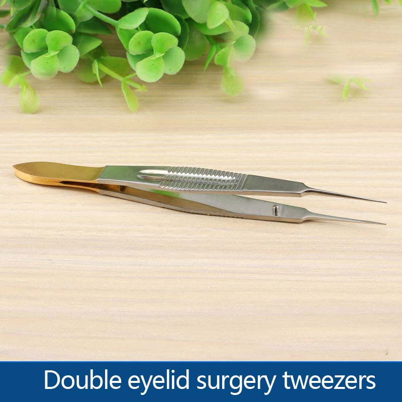 Double eyelid surgery tweezers fine plastic tine toothed gold handle fat licking hook stainless steel tool equipment on the simple sense of economics