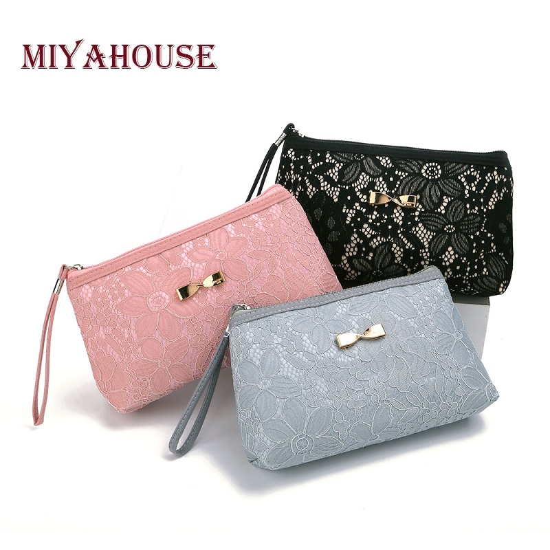Girl Classical Black Lace Design Cosmetic Bag Women Bow-Knot Women Zipper Makeup Bags Daily Use Small Make Up Bag Lady